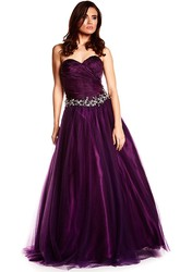 A-Line Floor-Length Criss-Cross Sweetheart Sleeveless Tulle&Satin Prom Dress With Waist Jewellery