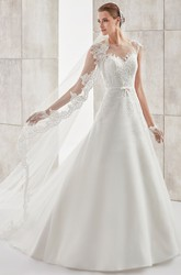 Jewel-Neck Cap-Sleeve A-Line Long Wedding Dress With Illusive Design And Appliques