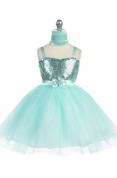 Knee-Length Cape Tiered Beaded Tulle&Sequins Flower Girl Dress With Sash