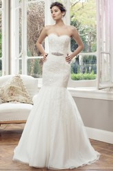 Mermaid Jeweled Sweetheart Lace Wedding Dress With Lace Up