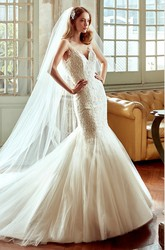 Sweetheart Mermaid Lace Wedding Dress With Backless And Illusive Straps