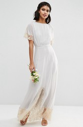 Sheath Ankle-Length Short Sleeve Scoop Neck Lace Chiffon Bridesmaid Dress