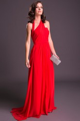 Sheath Sleeveless Floor-Length Haltered Chiffon Prom Dress
