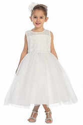 Illusion Tea-Length Beaded Bell-Sleeve Tulle&Lace Flower Girl Dress
