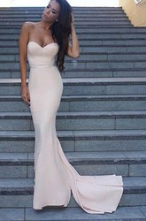 Sleeveless Sweep Brush Train Mermaid Trumpet Sweetheart Satin Dress