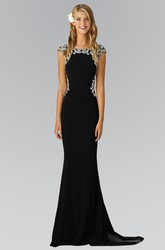 Sheath Bateau Cap-Sleeve Jersey Illusion Dress With Beading