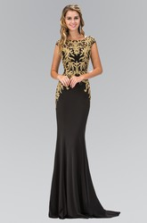 Sheath Maxi Bateau Cap-Sleeve Jersey Illusion Dress With Beading And Pleats