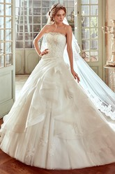 Strapless A-line Wedding Dress with Side Draping and Ruching Skirt