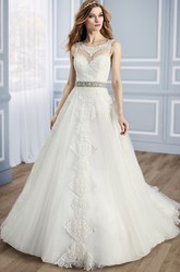 Ball-Gown Appliqued Sleeveless Scoop Long Tulle&Lace Wedding Dress With Waist Jewellery And Low-V Back