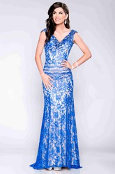 Backless V-Neck Sheath Lace Prom Dress With Cap Sleeve