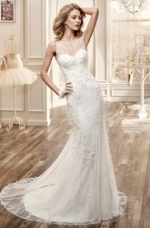 Sweetheart Cap-Sleeve Mermaid Wedding Dress With Illusive Neckline And Back