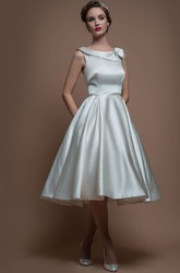 A-Line Sleeveless Tea-Length Bateau-Neck Satin Wedding Dress With Broach