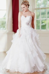 A-Line Sweetheart Ruffled Floor-Length Tulle Wedding Dress With Criss Cross And Broach