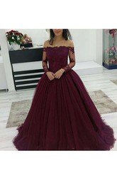 Illusion Lace Long Sleeve Off-the-shoulder Ball Gown Tulle Zipper Dress
