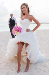 Stunning Sweetheart High-low Organza Dress With Ruching and Ruffle