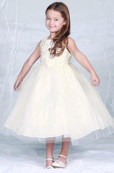 Tea-Length Bowed Tiered Tulle Flower Girl Dress
