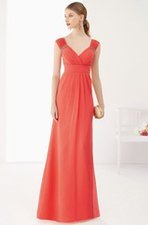 V Neck Cap Sleeve A-Line Chiffon Long Prom Dress Empire Waist With V Back