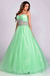 Tulle Sweetheart A-Line Prom Dress Featuring Crystal Detailed Waist