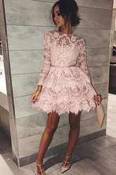 A-line Short Mini Long Sleeve High Neck Sash Ribbon Tiers Lace Homecoming Dress