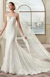 Jewel-Neck Cap Sleeve Lace Bridal Gown With Illusive Design And Brush Train