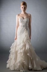 A-Line Sweetheart Appliqued Long Organza Wedding Dress With Cascading Ruffles And Tiers