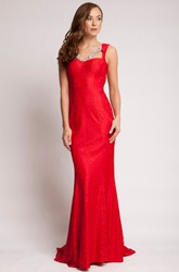 Sheath Beaded V-Neck Sleeveless Long Lace Prom Dress With Backless Style And Brush Train