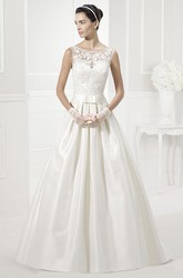 Jewel Neck Sleeveless Taffeta Bridal Gown With Lace Top And Bows