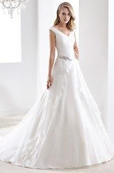Sweetheart Sheath Mermaid Pleated Gown With Beaded Bust And Brush Train