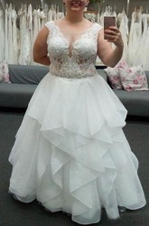 Ball Gown Jewel Organza Lace Zipper Wedding Gown