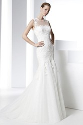 Sheath Appliqued Floor-Length Sleeveless Jewel Lace Wedding Dress With Illusion Back And Brush Train