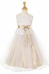 Tea-Length Bowed Tulle&Lace Flower Girl Dress
