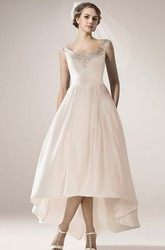 Vintage Sleeveless High Low Satin Wedding Gown With Straps