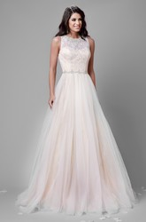 A-Line Tulle Sleeveless Jewel Neck Wedding Dress Featuring Lace Bodice