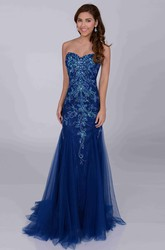 Noble Trumpet Sweetheart Tulle Prom Dress With Sequined Appliques