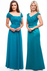 Long V-Neck Bowed Lace Satin Bridesmaid Dress With Ribbon And V Back