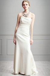 Sheath Strapless Floor-Length Ruched Sleeveless Satin Wedding Dress