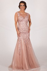 Mermaid Scoop Neck Appliqued Sleeveless Tulle Prom Dress With Keyhole