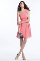 One-Shoulder Short Chiffon Bridesmaid Dress With Ruches