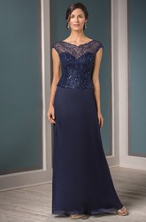 Cap-Sleeved V-Neck Mother Of The Bride Dress With Sequins And Illusion Style
