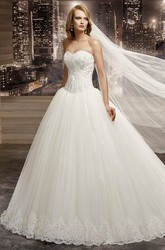 Sweetheart Beaded A-Line Bridal Gown With Brush Train And Lace-Up Back