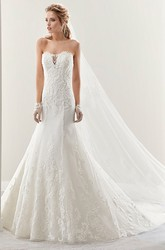 Strapless Mermaid Lace Gown With Illusive Details And Brush Train