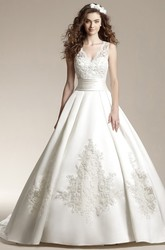 Sleeveless V-Neck Ballgown With Appliques And Lace Detail