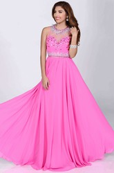 Bling Rhinestone Neck Sequined Bust A-Line Sleeveless Chiffon Prom Dress