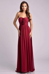 Sweetheart Pleated Empire Chiffon Bridesmaid Dress With Floral Detailing