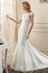 Cap-Sleeve Lace Long Wedding Dress With Open Back And Court Train