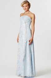 Strapless Appliqued Lace Bridesmaid Dress With Draping And Broach
