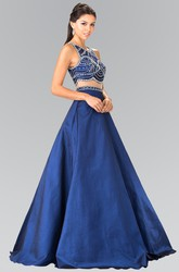 Two-Piece A-Line Scoop-Neck Sleeveless Satin Illusion Dress With Beading