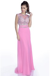 Sheath Chiffon Sleeveless Gown With Rhinestones And Appliques