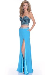 Column Sweetheart Crop Top Jersey Prom Dress Featuring Shining Bodice And Front Slit
