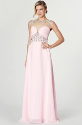 Floor-Length Bateau Neck Criss-Cross Sleeveless Chiffon Prom Dress
